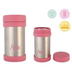 Różowy termos na jedzenie 500 ml Kiokids