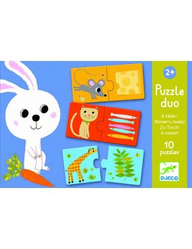 Puzzle Tektura duo zwierzątka i ich obiady, Djeco