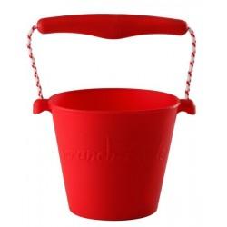 Scrunch-bucket Zwijane wiaderko silikonowe, Czerwone